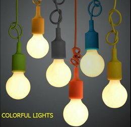 Colorful silicone Pendant lamp E27 lamp holder lighting110-220v pendant light 9 color DIY pendant light +100cm cord+ceiling base order<$18no