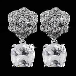 Luxury Jewellery ROSE flowers women's white gold Filled Dangle Earrings for women gift 1pair