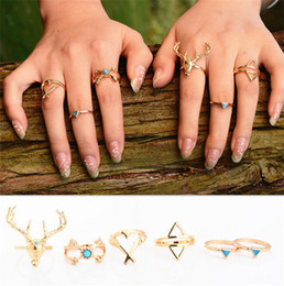 Wholesale Vintage Antler Triangle Arrow Turquoise Rings Silver Gold Plated Women Lady Fashion Ring Fine Jewlery DCBJ714