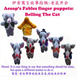 Wholesale World Fairy Tale Aesop s Fable quot Belling The Cat quot Finger Puppets Plush Hand Puppet Kids Talking Props