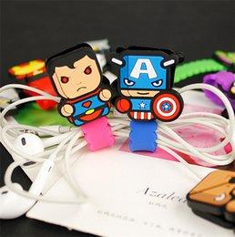 Wholesale Cartoon Style The Avengers Hero Alliance Formative Long Strip Cable Winder American Captain Batman Superman Earphone Winder K1213
