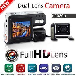 Wholesale Dual Lens Camcorder i1000 Auto Car DVR Dual Camera HD P Dash Cam Black Box Driving Recorder With Parking Rear lens Cameras