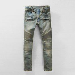 Wholesale 2016 Paris Runway Stretch Jeans Washed Acid Light Blue Biker balman jeans designer mens distressed jeans ripped skinny jean slim homme
