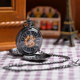 Wholesale Double Opens Sides Vine Black FOB Pocket Watch With Chain Necklace Pendant Romand Numbers Black Dial Fashion Designer