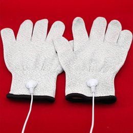 Wholesale Conductive Super Elastic Gloves Electric Shock Stimulator DIY Sex Toys SM Massage Glove conductive pulse Fitting