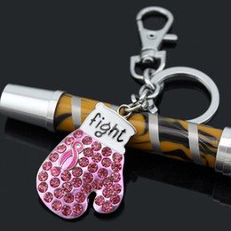 Breast Cancer Awareness Pink Ribbon Jewelry,Sport Jewelry Gift, Gloves Keyrings Pink Ribbon Fighting Box Gloves Keychains Key Rings