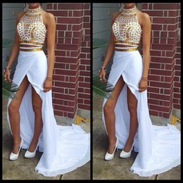 2015 White Chiffon High Neck Two Pieces Front Slit Long Senior Prom Dress Special Occasion Woman's Party Dresses With Beaded
