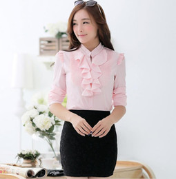 Plus Size New Women's OL Chiffon Shirt Ruffles Long Sleeve Base Shirts Female Blusas Lady's Casual Blouses 4 Colors