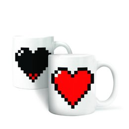 Wholesale Best Sale New Stylish Magic Ceramic Coffee Tea Milk Hot Cold Heat Sensitive Color Changing Mug Cup Pixel Heart Lovely Gift