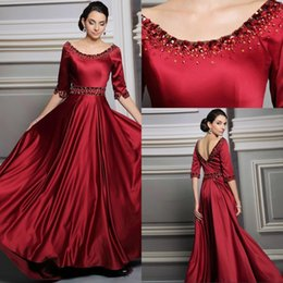High Quality A Line Scoop Floor Length Elastic Half Sleeve Evening Dresses With Crystal vestidos de festa vestido longo Women Gowns