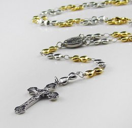 Romantical Design Best Gift For Women Silver&Gold Rosary Necklace Stainless Steel Religous Jusus Cross Sweet Small Hearts Crucifix 5 mm