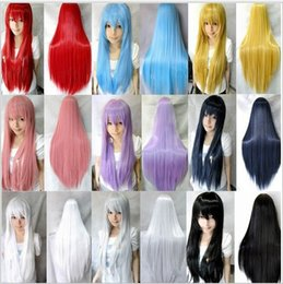 Wholesale 15 colors multi color cm long straight hair Cosplay Costume Wig with bangs new style synthetic hair wigs Party long Cosplay Wigs