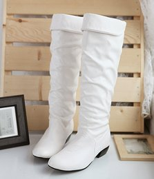 Wholesale Armoire Hot Sexy Black Brown White Women Platform Slouch Knee High Boots Ladies Shoes AZ Low Heels Plus Big Size
