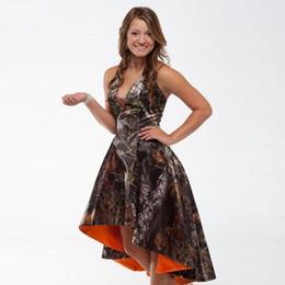 2016 High Low Realtree Camoflage Camo Bridesmaid Dresses Halter Neckline Plus Size Bride Maid of Honor Dress Orange Camo Wedding Party Gowns