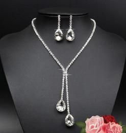 925 ensembles de mariée à vendre-925 bijoux en argent sterling plaqué nuptiale de collier boucles d'oreilles Waterdrop strass cristal pour femme Déclaration de mariage Bijoux