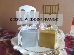 Classic Silver Chair candy box with name card and Ribbon Wedding gift box and chocolate box 250pcs lot Free Shipping