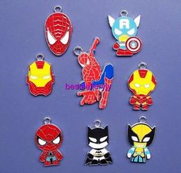 Lot 100 Pcs Mixed Avengers Spider-man Enamel Metal Charm Pendants Jewelry Making