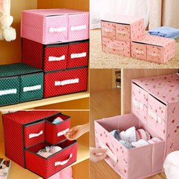 Wholesale 2015 New Fashion Storage Drawers Layers Drawers Underwear Storage Boxes Pink Lace Containing Boxes For Room Nonwoven Housekeeping Box