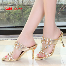 Summer Rhinestone Slippers Gold Pink Wedding Party Shoes Fashion Women High Heel Sandals Sparkling Prom Shoes Plus size 41-43