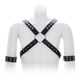 2016 New Sex Bondage PU Leather Male Chest Harness with Arm Restraints Adult Leather Strap Sex Fetish Costumes