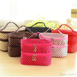 2016 Makeup Tool Double layer small dots cosmetic bag storage bag multifunctional Storage package S385-C
