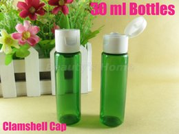Wholesale 30ml Clamshell green bottle refillable bottle make up container small empty bottles high quality