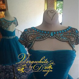 Blue Rhinestone Homecoming Dresses Bateau Neck A-Line Tulle with Full Beads Pleats Zipper Back 2016 Short Evening Party Gowns Custom
