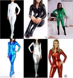 Wholesale-Details about Superior quality!! Metallic Lycra Zentai Spandex Catsuit Costume Front Zip