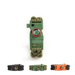 Wholesale Survival Bracelet Whistle Clasp - Multi-functional outdoor Survival Bracelets 2015 lose true with the compass & clasp bracelets bracelets flint whistle new patent products