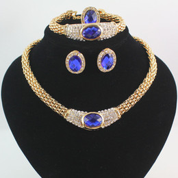 The NewFashion Women 18K Gold Plated Crystal Sapphire Wedding Party Necklace Earrings Bracelet Ring Jewelry Sets