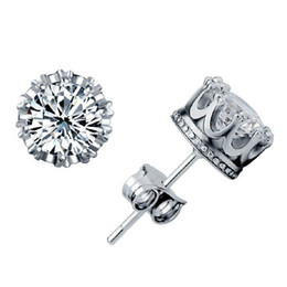 925 sterling silver items crystal jewelry stud earring wedding charms ethnic vintage crown shaped woman fashion