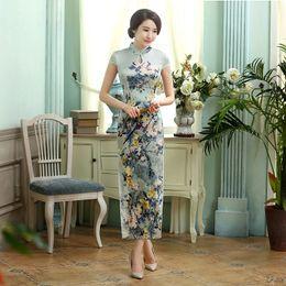 Shanghai Story high-grade long cheongsam Faux Silk cheongsam qipao dress chinese traditional clothing oriental dresses 2 Style C0017 C0018