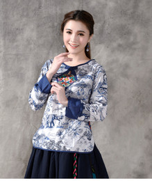 Chinese element print long sleeve blouse T-shirt