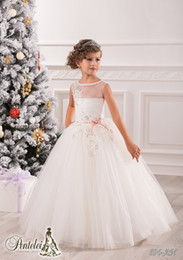 Wholesale Beautiful Jewel Applique Sash Net Baby Girl Birthday Party Christmas Princess Dresses Children Girl Party Dresses Flower Girl Dresses