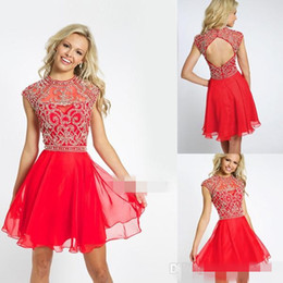 Wholesale Cute Pink Crystals - Charming Sexy A Line Cherry Chiffon Open Back Short Prom Dresses Beaded Crew Neckline Sleeveless Cute Mini Formal party Homecoming Dresses