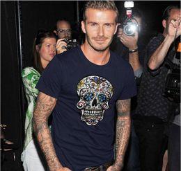Wholesale 2016 David Beckham fashion casual T shirt skull tide brand men s short sleeved cotton T shirt tees