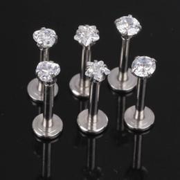 JK Silver Labret Lip Ring Zircon Anodized Internally Threaded Prong Gem Labret Monroe 16G Tragus Ear Tragus Piercing