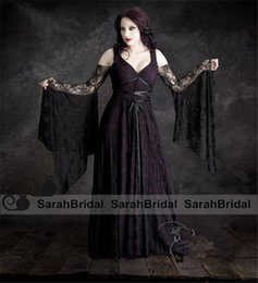 Wholesale Willow Fairy Tale Romantic Colored Black and Purple Lace Wedding Dresses with Sheer Long Sleeves and Gothic Bridal Gowns For Masquerade Wear