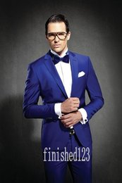 Fashionable One Button Royal Blue Groom Tuxedos Notch Lapel Groomsmen Best Man Wedding Prom Dinner Suits (Jacket+Pants+Girdle+Tie) G3938