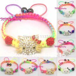 freeshipping 2013 fashion 10pc mix color Crystal Connectors shamballa beads hello kitty bracelet h002