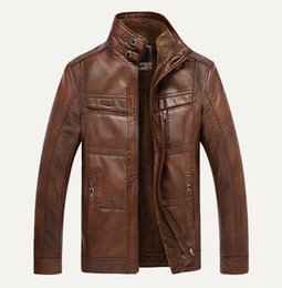 Fall-New Winter Men's Casual Middle-aged Men's Leather Coat Fleece Men's Leather Jacket Thick Man Leather Jacket