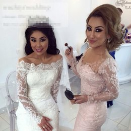 Fashion Off Shoulder Mermaid Full Lace Wedding Dresses 2016 Appliques Sweep Train Long Sleeves Modest White   Ivory Bridal Gowns