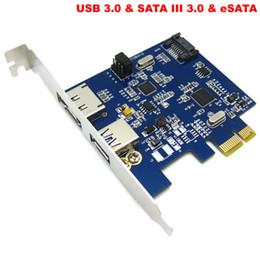 Wholesale-PCI Express PCI-E USB 3.0 + eSATA 3.0 + SATA III 3.0 3in1 Card Adapter Converter