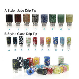 Wholesale Great quality Drip Tip E Cigarettes Carving Art Glass Drip Tip Jade stone Drip Tip with Stainless Steel Wide Bore Atomizer Mouthpieces