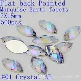 #01-07 7x15mm 500pcs acrylic flat back marquise earth facets AB colors acrylic rhinestone glue on acrylic beads decorate
