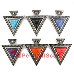 Fashion Style Necklace Pendant Scarf Jewelry Accessories 6 Colors Mixed Charm Resin Metal Triangle Scarf Pendant, Free Shipping, AC0358