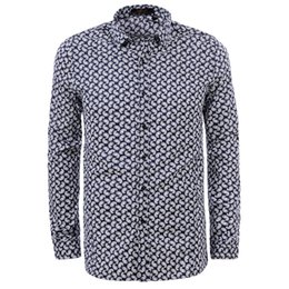 Men's Fashion 2018 Summer Long Sleeve Cotton Print Dress Shirt