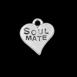 50pcs Alloy Soul Mate Stamped Heart Message Charms Vintage Heart Letter Jewelry Findings AAC833