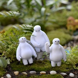 Wholesale 3pcs Cartoon Big Hero Baymax Figures Character garden miniatures Fairy figurines gnome moss terrarium resin crafts home decor