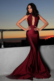 Michael Costello Backless Mermaid Evening Gowns Sexy Halter Plunging Neckline Long High Neck Backless Formal Dresses Prom Party Dress